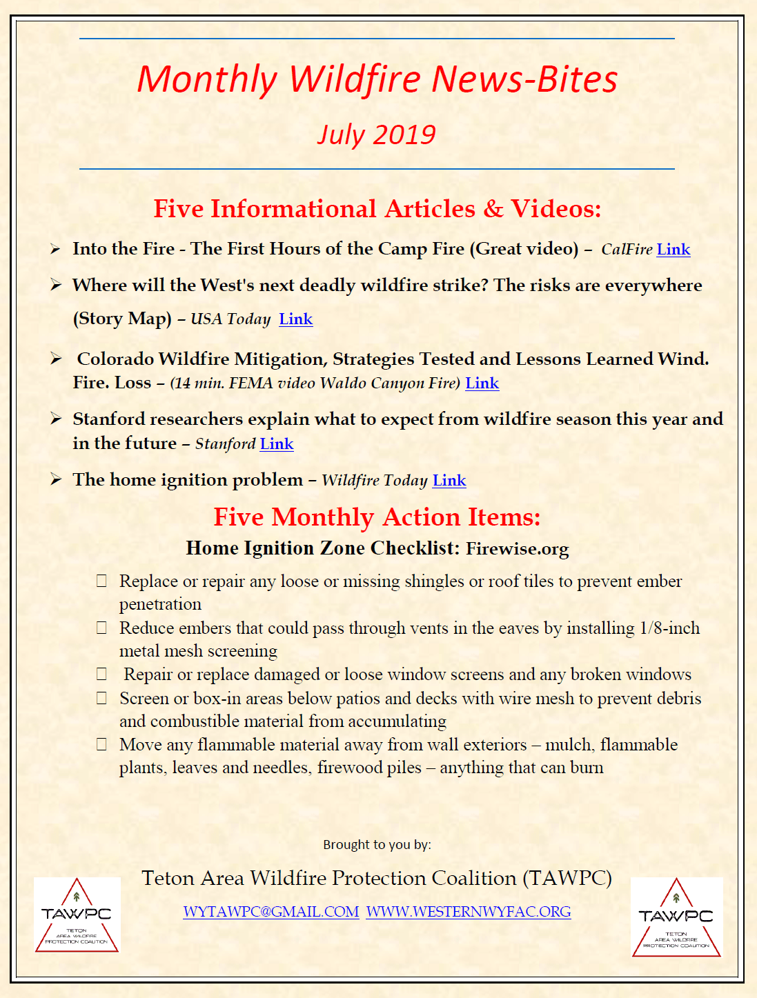 July Wildfire News-Bites